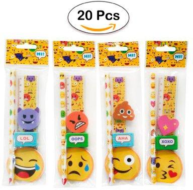 Lote 20 Sets 5 Pcs Papelería Emoticonos De Regalo