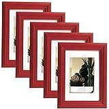 EUGAD 5er Set Bilderrahmen Fotogalerie, 9402-5, Holz Rahmen, mit Glasscheibe, mit Passepartout, Artos Rot, 10x15 cm