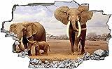DesFoli Elefant Afrika 3D Look Wandtattoo 70 x 115 cm Wanddurchbruch Wandbild Sticker Aufkleber C058
