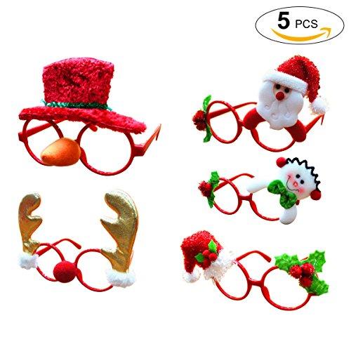 Coxeer Christmas Glasses Frame, 5Pcs Xmas Glasses Frame Creative Cartoon Christmas Eyeglasses Frame
