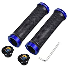 TOPCABIN® Double Lock on Locking Bicycle Handlebar Grips Cycle Bicycle Mountain Bike BMX Floding (Blue (a pair))