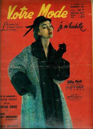 Votre Mode - n°361 - 21/01/1954 - Manteau Nina Ricci (couv.) / Manteau droit T.44 (patron)