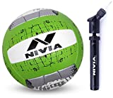 Nivia Pu-5000 Pu-18P Volleyball, Size 4 and Nivia Ball Pump Double Action