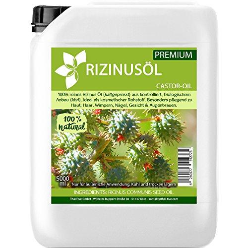 Rizinusöl kaltgepresst 5000ml | aus kontrolliert biologischem Anbau (kbA) - natürliches Öl für Haut, Wimpern, Augenbrauen, Haar & Nägel