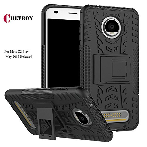 Chevron Polycarbonate Hybrid Armor Detachable Stand-up Dual Layer Protective Shell Hard Back Case for 2nd Gen Moto Z2 Play (Space Black)