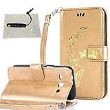 TOCASO hülle für Samsung Galaxy Core Plus (GT-G3500 / SM-G350 / G3502) Golden, Flip Tasche per Samsung Galaxy Core Plus (GT-G3500 / SM-G350 / G3502) Hülle Case Wallet ID Karte s Silikon Kunst