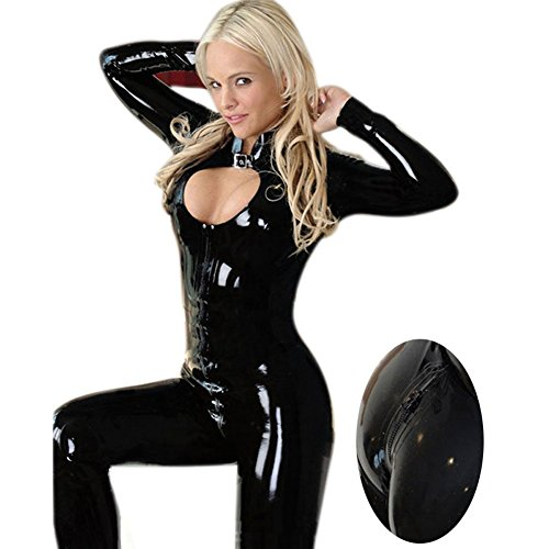 Sexy Leder Dessous Clubwear Kostüm Frauen Jumpsuit Body Babydoll Nachthemd mit Offenem Schritt,S