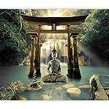murando - Fototapete selbstklebend Buddha 294x210 cm Tapete Wandtapete Wandbilder Klebefolie Dekofolie Tapetenfolie Wand Dekoration Wohnzimmer - Wasserfall Natur Orient Zen p-A-0033-a-b