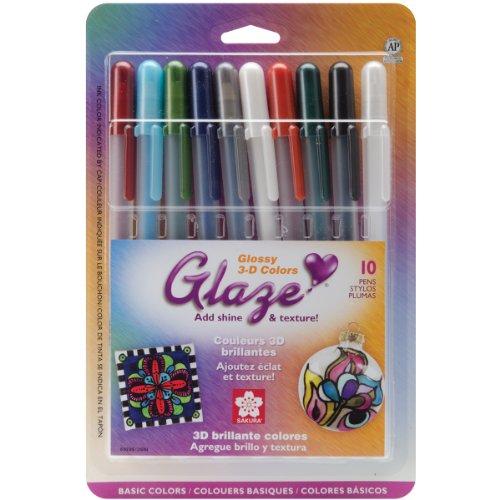 Sakura 5837710 Stück sortierte Glasurfarben Cube Collection 3D-Tintenschreiber-Set Glänzend, verschiedene Farben, 10PK Basic Set -
