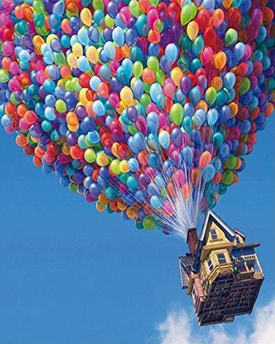 Guume Rahmenlose Luftballon DIY Malen Nach Zahlen Landschaft Färbung Malen Nach Zahlen Kit Acrylmalerei Einzigartige Hauptwanddekor 40X50 cm