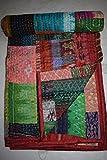 tribal Asian Textiles vintage seta Sari Twin kantha Quilt Old Patola seta Sari trapunta patchwork, Ralli, Gudari Bed copertura coperta