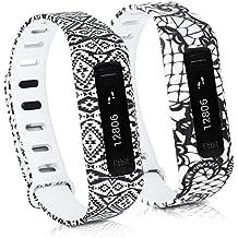 kwmobile 2in1 Set: 2x Sport Ersatzarmband für Fitbit One - Silikon Armband mit Verschluss ohne Tracker Spitze Schwarz Weiß, Aztec Ornamente Schwarz Weiß - Innenmaße: ca. 13 - 20 cm