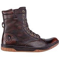 DIESEL Ankle Boot Sneaker Man Leather Zip Lace-Up Tatradium Basket Butch Coffee