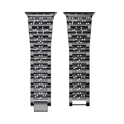 Yallylunn Luxury Alloy Crystal Watch Band Wrist Strap Sport Im Freien Arbeiten Oder Studieren Klassik WiderstandsfäHigkeit for Apple Watch Series 3 42Mm