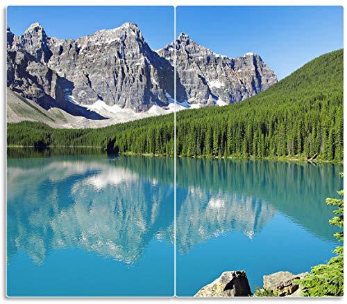 Wallario Herdabdeckplatte/Spritzschutz aus Glas, 2-teilig, 60x52cm, für Ceran- und Induktionsherde, Tiefblauer See mit Bergpanorama und Wäldern – Kanada