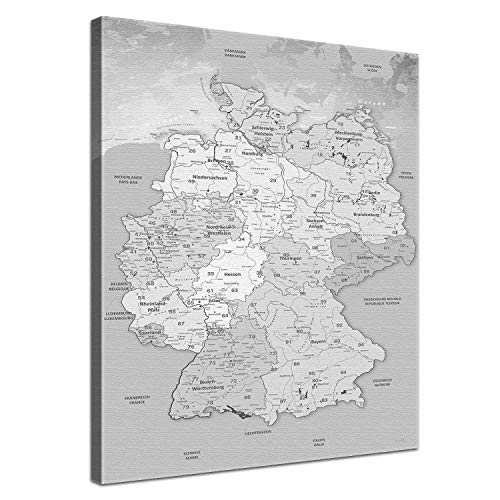 LanaKK - Leinwandbild Deutschlandkarte Hellgrau Karte von Deutschland - deutsch - Kunstdruck-Pinnwand auf Echtholz-Keilrahmen - Globus in braun, einteilig & fertig gerahmt in 40 x 60 cm
