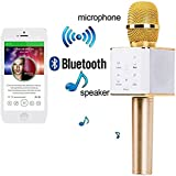 ApeCases® Karaoke New Q7 Microphone Wireless, Portable Handheld Singing Machine Condenser Microphones Mic And Bluetooth Speaker Compatible With IPhone/ IPad/ IPod/ And All Android Smartphones.