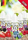 V2 Vape Set Beerenstark AROMA/KONZENTRAT hochdosiertes Premium Lebensmittel-Aroma zum selber mischen von E-Liquid/Liquid-Base für E-Zigarette und E-Shisha 5x10ml 0mg nikotinfrei