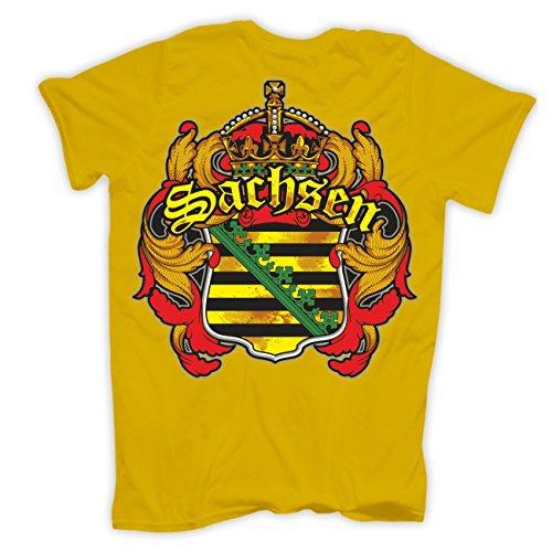 Männer und Herren T-Shirt Sachsen (mit Rückendruck) Gelb