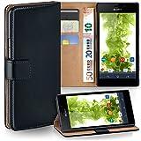 Sony Xperia M2 Hülle Schwarz mit Karten-Fach [OneFlow 360° Book Klapp-Hülle] Handytasche Kunst-Leder Handyhülle für Sony Xperia M2/M2 Dual/M2 Aqua Case Flip Cover Schutzhülle Tasche