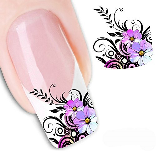 5 PCS EMAXELER Decals Water Nail Art Stickers Decal Tattoo Purple Flower (XF1554) by EMAXELER (Purple Flower Tattoo)
