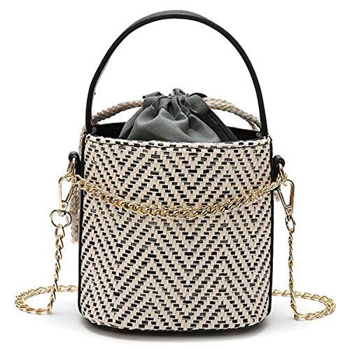 SODIAL Frauen Stroh Handtasche Tote Sommer Urlaub Woven Bucket Bag Freizeit-Kette Umhaengetasche Umhaengetasche (schwarz) -