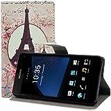 kwmobile Hülle für Sony Xperia Z1 Compact - Wallet Case Handy Schutzhülle Kunstleder - Handycover Klapphülle mit Kartenfach und Ständer Eiffelturm Rosen Design Rosa Weiß Beige