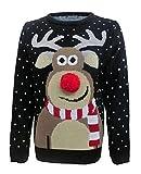 Pull de Noël avec nez 3D Pom Pom Rudolph - Fashion Essentials - - 48 cm