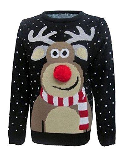 Pull de Noël avec nez 3D Pom Pom Rudolph - Fashion Essentials - Noir - 48 cm
