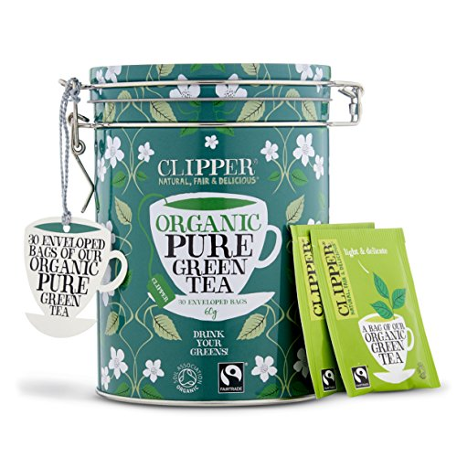 Clipper Organic Tea Gift Caddy Envelopes, 30-Count, Green