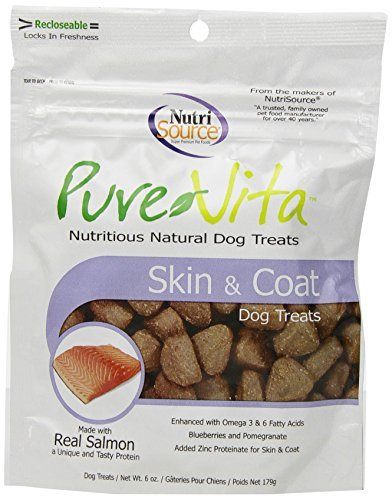 Pure Vita Skin & Coat Dog Treats with Real Salmon, 6oz (3-Pack) by Pure Vita -