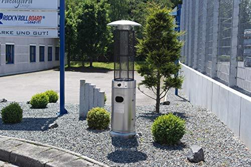 Traedgard Heizstrahler California Edelstahl mit Glasröhre, Höhe 185 cm inkl. Rollenset, Schutzhülle und Gastroset - 3