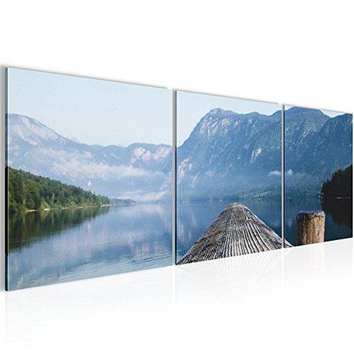 Bild 120 x 40 cm - Steg Bilder- Vlies Leinwand - Deko für Wohnzimmer -Wandbild - XXL 3 Teile Teile - leichtes Aufhängen- 806033a