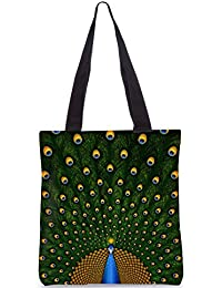Snoogg Peacock Feather Designer Poly Canvas Fashion Printed Shopping Shoulder Lunch Tote Bag For Women