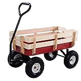 CASART Wagon Cart Garden Trolley Outdoor Kids Children Toys Games Pull Along Truck W/ Wood Railing Red 168 x 50 x 53CM