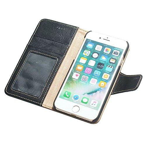Luxus Echtes Leder Tasche Geldbörse Horizontale Flip Folio Stand Case Cover mit magnetischen Wölbung & Card Slots Für IPhone 7 ( Color : Wine ) Black