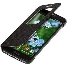 kwmobile Funda para LG G2 Mini - Case estilo libro de cuero sintético con ventanilla - Flip Cover plegable negro