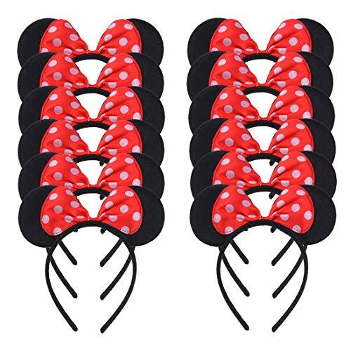 Conjunto de 12 Mickey Minnie Rojo Diademas para cumpleaños Fiestas de Halloween Mamá Niños Niñas Accesorios para el cabello Sombrero de orejas de ratón precioso Decoraciones (Rojo)