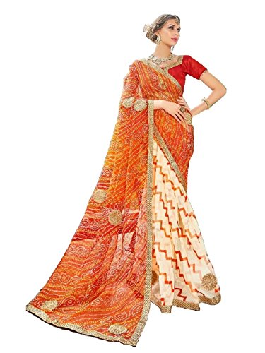 V's Fashion Point Supernet Artsilk sarees (Orange)