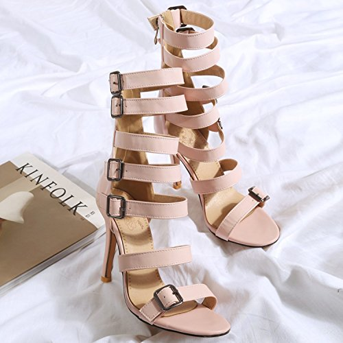 Oasap Women's Buckle Strappy High Heels Gladiator Sandals Pink