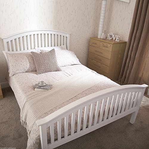 Home Furnishings UK Hf4you Madrid High Footend Bedstead - 5FT Kingsize - White - Frame Only