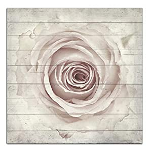 Cuadros Lifestyle Wandbild aus Holz | Holzbild | Shabby-Look | Landhaus | Rose | Vintage | Geschenk, Größe:ca. 50×50 cm