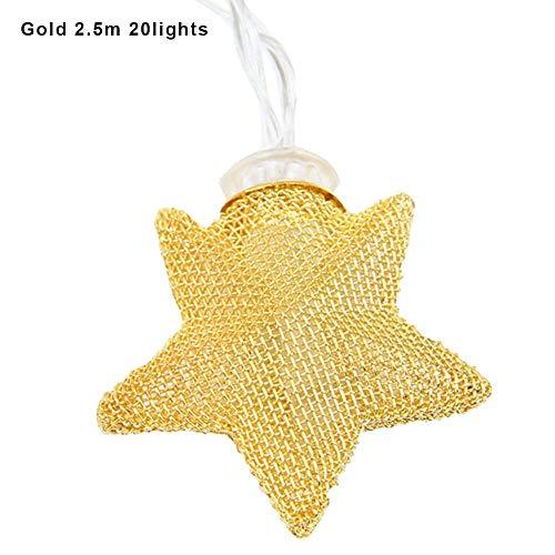 Lecimo LED-Leuchten String Eisen Sterne Lichter 10LED Hohl Goldene FüNfzackigen Stern Form...