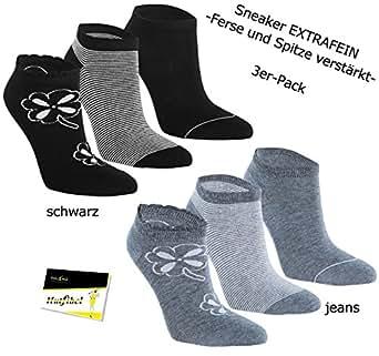 """3er Pack Damen Sneaker Kurzstrümpfe Socken Strümpfe """"Black & Jeans"""" (RS-15344-JEANS-39/42) jeansblau, 39/42 - inkl. EveryHead-Hutfibel"""