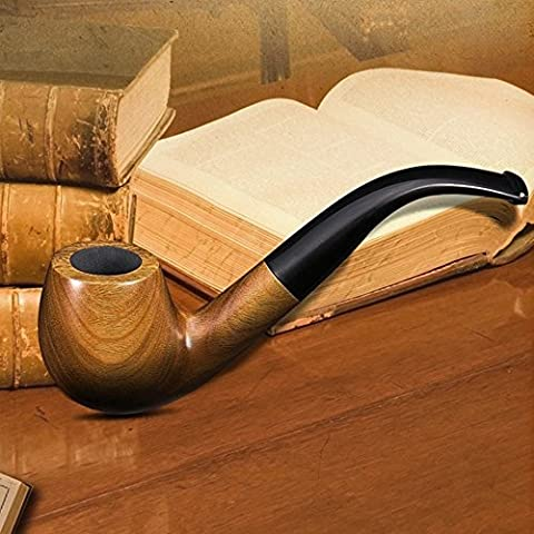 Scotte® green sandalwood bent smoking tobacco pipe with filter element + 3 in 1 scraper+ high grade gift box by