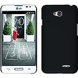 PhoneNatic Funda Rígida para LG L70 - goma negro - Cover Cubierta + protector de pantalla