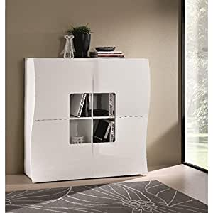 Commode ONDA cube 4 tiroirs blanc brillant.