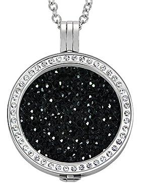 Quiges Damen Edelstahl Zirkonia Coin Anhänger Set 33mm mit 90cm Halskette und Coin (verschiedene Farben)