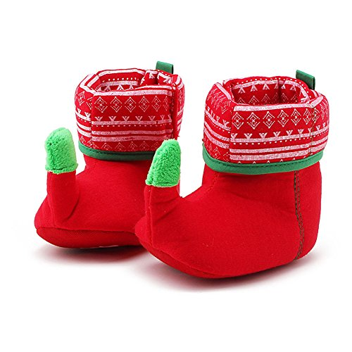 Itaar Baby Boots Toddler Infant Christmas Elf Crib Shoes Winter Snow Booties Soft Warm