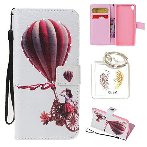 für Sony Xperia XA PU Leder Silikon Schutzhülle Diamant Handy case Book Style Portemonnaie Design für Sony Xperia XA + Schlüsselanhänger ( IUO) (9)